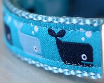 Blue Whale Dog Collar/Blue Dog Collar/Cetacean/Ocean/Adjustable