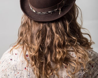 Brown Bowler hat /  Wool Felt Hat / Feather Hat / All-Season Women's Hat / Derby hat / Cloche hat /
