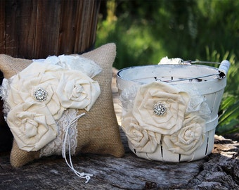 Rustic Flower Girl Basket and Ring Bearer Pillow Set - Burlap Ring Bearer and Flower Girl Set - Rustic Flower Girl and Ring Bearer Set