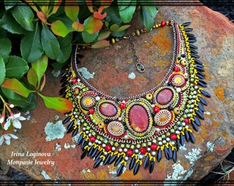 Seed bead embroidered necklace, Bead embroidery necklace, Beadwork fringed necklace, Bib Necklace, Gemstone Necklace, Beaded Necklace
