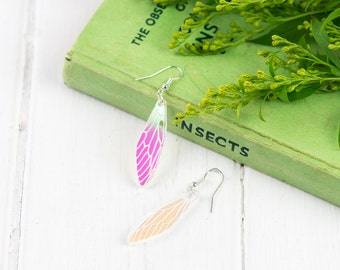 Iridescent Cicada Wing Earrings | Engraved Insect Wings