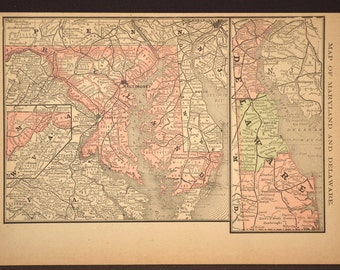 Maryland Map Maryland Delaware Map Antique Late 1800s