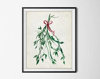 Mistletoe Christmas Watercolor Art - Watercolor Mistletoe Print - Printable Seasonal Holiday Home Decor - INSTANT DOWNLOAD #2521