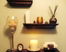 Narrow Espresso Floating Shelf, concealed shelf, photo ledge, picture ledge