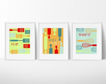 Kitchen Decor - Kitchen Wall Art - Kitchen Print - Funny Kitchen Art - Kitchen Wall Decor - Roll With It, Flip Out, Whip It Good - Set of 3