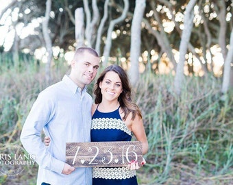 Save the Date Rustic Sign, Engagement Photo Prop, Wedding Gift