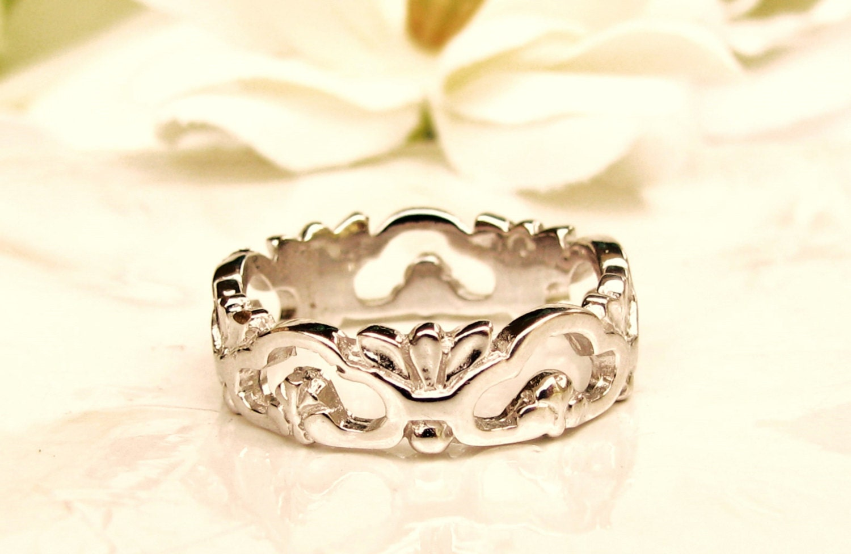 vintage filigree wedding band 14k white gold wedding ring