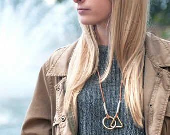 Solid Brass Geometric Necklace / Leather Necklace / Solid Brass Pendant Jewelry / Handcrafted in Portland, Oregon.