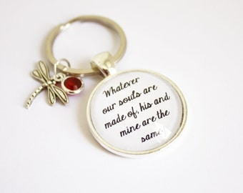 Jane Eyre & Wuthering Heights quote keyring. Charlotte and Emily Brontë. Heathcliff. Rochester. Catherine Earnshaw. Personalized