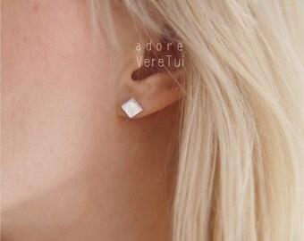 Silver Square Rhombus Earrings