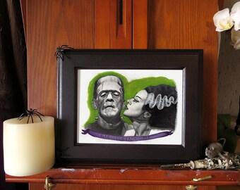 Watercolor Painting Pencil Drawing of Frankenstein & Bride - 5x7 inch Art PRINT