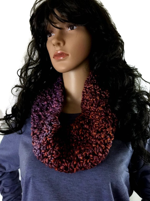 Outlander Claire Circle Cowl Purple Copper Bulky Scottish Winter accessories Circle Scarf Crocheted Neckwarmer FREE SHIPPING FT17