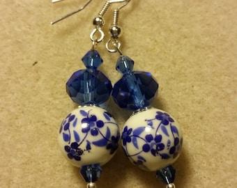Pretty Blue and White dangle Earrings