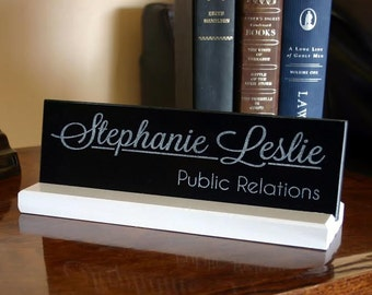 Personalized Desk Name Plate Engraved Granite Desk Sign Modern Trending Co-worker Gift Solid Granite and Maple Quality