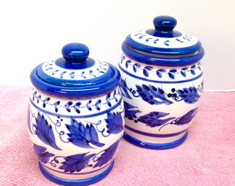 """BLUE STONEWARE CANISTERS is a Set of 2 Matching """"Young's"""" Glazed Blue & White Stoneware Canisters with Nice Tight White Rubber Seals in Lids"""