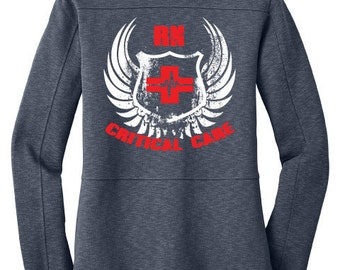 Nurse Jacket Women's Critical Care Jacket (RN) Slate | RN | ICU | Intensive Care | Critical Care | Hospital | Nurse Jacket | Nurse Gifts