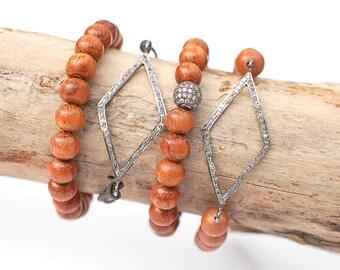 Diamond Pave Bracelet, Diamond Beaded Bracelet, Delicate CZ Bracelet, Diamond Cord Bracelet, ID Bracelet
