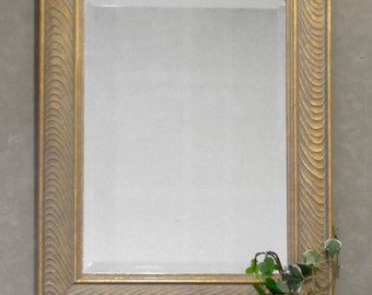 Beveled Mirror,Framed Mirror, Hanging Mirror,Gold Frame,12x16 Mirror,Powder Room Mirror, Doorway Mirror,Makeup Framed Mirror,Mud Room Mirror