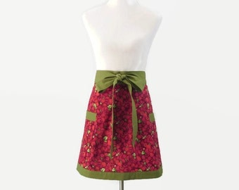 Womens Raspberries Apron,  Rasperries Half Apron, Full Raspberry Apron, Pink Fruit Apron, Raspberry Kitchen Decor, Raspberries Kitchen Apron