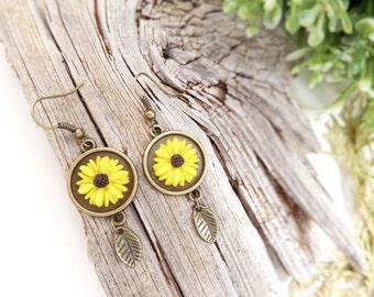 Sunflower Earrings Long Rustic Earrings Yellow Dangle Earrings Sunflower Jewelry Flower Charm Earrings Best Mother Gifts Sun Flower Earrings
