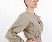 vintage one piece jumpsuit, minimalist cotton jumper, 80s tapered leg shoulder pads, size 8