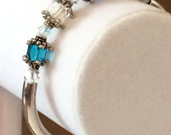 Sterling Silver And Glass Bead Bracelet 7""