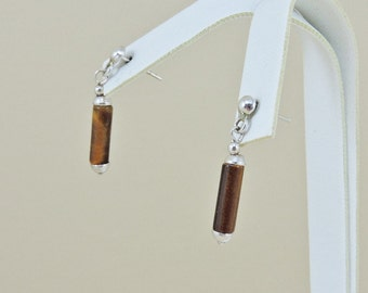Sterling Silver And Tigers Eye Dangle Earrings