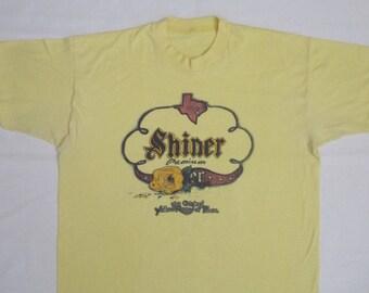 70s ORIGINAL YELLOW ROSE Of Texas Beer Advertising  Vtg. Yellow T-Shirt / Size Medium