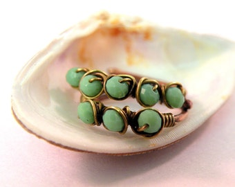 Set of Two Wire Wrapped Rings Sea Green, Mid-Ring, Shaped & Hammered Copper Finger Rings, Adjustable rings, Stackable Rings, stacking ring