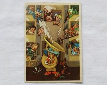 "Illustrator Vladimirsky Vintage Soviet Postcard ""Know-nothing / Dunno Musician"" N. Nosov - 1957. Sovetskiy hudozhnik."