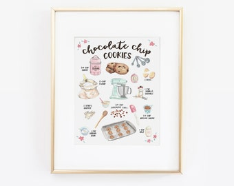 Chocolate Chip Cookie Print, Illustrated Recipe, Recipe Print, Cookie Recipe, Kitchen Decor, Recipe Art, Bakery Art, Ingredient Print
