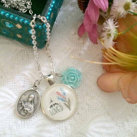 "24"" Charm Necklace * Hand-lettered & Illustrated I Am Loved Pendant * St. Therese Medal * Catholic Christian Jewelry"