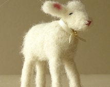 Needle felted animal - home décor - white baby ornament - animal nursery decor - felt christmas - art and collectibles - country decor