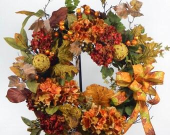 Autumn Grapevine Wreath - Autumn Wreath - Grapevine Wreath - Autumn Home Decor - Artichoke Wreath - Hydrangea Wreath - Thanksgiving Decor