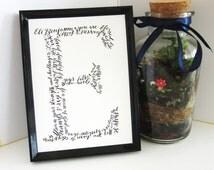 Custom Hand-Calligraphy Letter Artwork - Baptism, Christening Gift, Baby shower, Wedding, Birthday, Baby Dedication, Keepsake Art, Wall Art