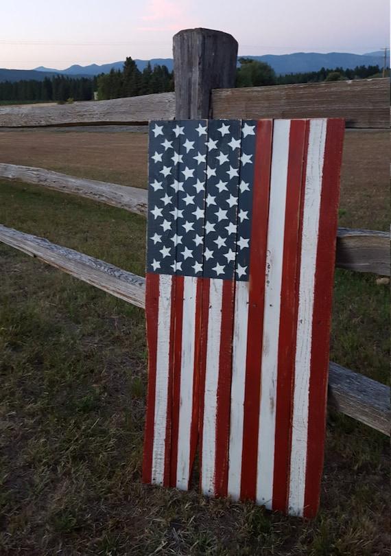 Rustic Wood American Flag Wood Flag Vertical Flag Rustic