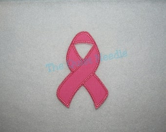 pink awareness ribbon breast cancer iron on applique patch fabric iron on patch sew on applique tutu shirt supplies made to order - Spot Applique Sdb