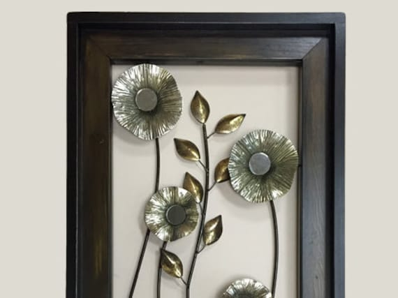 Large Silver Wall Decor: METAL Wall ART Wood Framed FLOWERS Mirrors Home By