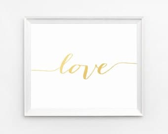 Love Typography, Love Print, Gold Foil Print, Wall Art Printable, Home Decor Poster, Gold Art, Nursery Wall Art, Gold, Nursery Print, Prints