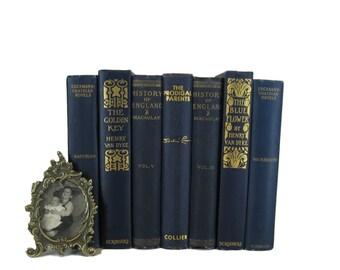 Blue Antique Books ,  Book Decor , Decorative Books , Wedding Prop , Photo Prop , Vintage Books , Old Books