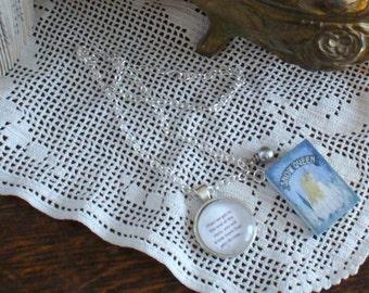 Book Nook Necklace, Quote Necklace, Snow Queen, Hans Christian Andersen, Literature Necklace, Silver Necklace, Book Charm, MarjorieMae