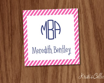 Monogrammed Striped Calling Cards Stickers, Personalized Personal Business Cards, Gift Inserts Tags Enclosure Cards, Girls Gift Tags
