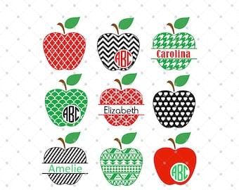 Apple Monogram Frames SVG Cut Files, Apple SVG cut files, Teacher svg cut files for Cricut, Silhouette and other Vinyl Cutters, svg files