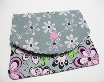 Women's Fabric Wallet, Cotton Fabric Wallet, Change Purse Wallet, Pink Grey, Credit Card Holder, Business Card Holder, Gift For Her Under 20