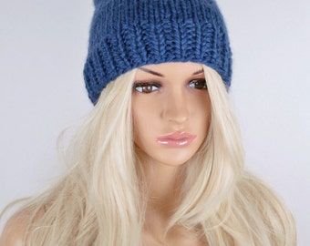 Knit Hat, Slouchy Hat, Winter Hat, Beanie Hat, Pom Pom Hat, Colorful Hat, Fall Hat, Slouchy Beanie Hat, Blue Pom Pom Hat