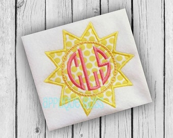 Monogram Sunshine Digital Applique Design - Sun - Summer - Beach - Monogram - Machine Embroidery