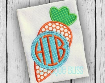 Monogram Carrot Digital Applique Design - Easter Applique Design - Easter Embroidery Design - Easter Egg - Easter Bunny - Carrot