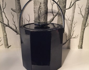 Vintage Navy Vinyl Ice Bucket Barware by Sigma