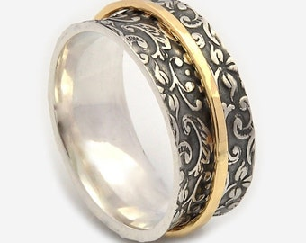 spinner rings for women oxidized floral base spinner band meditation rings nature - Nature Inspired Wedding Rings