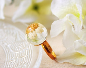 Orb / ring / white / Pressed Flowers, Daisy Ring, Gift for her, Natural Flower Ring, Resin Flower Ring, Dried Flower Ring, Cool Ring